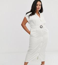 Джинсовое платье-рубашка миди с открытой спиной и поясом ASOS DESIGN Curve-Белый