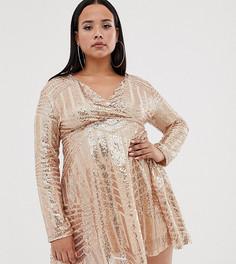 Приталенное платье с отделкой пайетками Club L Plus-Розовый