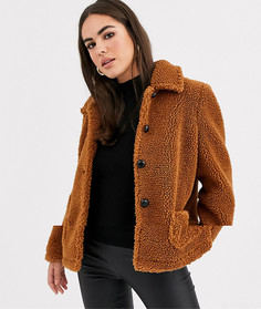 Укороченное пальто из искусственного меха Vila-Коричневый