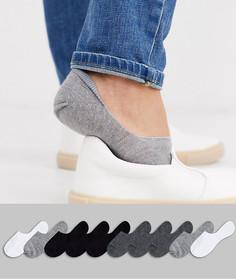 Набор из 10 пар невидимых носков в черно-белой гамме ASOS DESIGN, скидка-Мульти