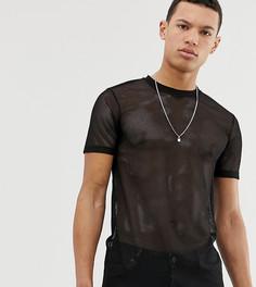 Черная сетчатая футболка ASOS DESIGN Tall-Черный