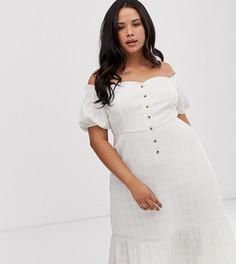 Фактурное платье миди на пуговицах с открытыми плечами ASOS DESIGN Curve-Белый