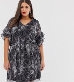 Двухслойное платье со змеиным принтом Lovedrobe-Мульти