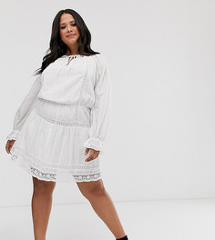 Короткое приталенное платье с кружевными вставками ASOS DESIGN Curve-Белый