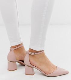 Бежевые туфли на каблуке для широкой стопы с крокодиловым рисунком и острым носком ASOS DESIGN-Бежевый