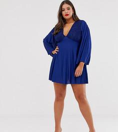 Плиссированное платье мини с кружевной вставкой и рукавами-кимоно ASOS DESIGN Curve-Темно-синий