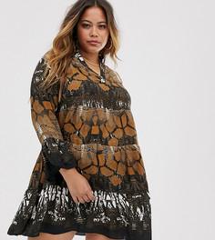 Ярусное платье со змеиным принтом AX Paris Plus-Мульти