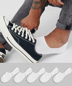 Набор из 5 пар белых невидимых носков ASOS DESIGN - Скидка-Белый