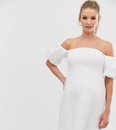 """Короткое приталенное платье с рукавами """"фонарик"""" ASOS DESIGN Maternity-Белый"""