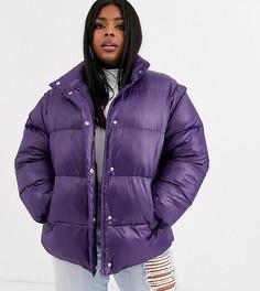 Фиолетовая дутая куртка с отстегиваемыми рукавами ASOS DESIGN Curve-Фиолетовый