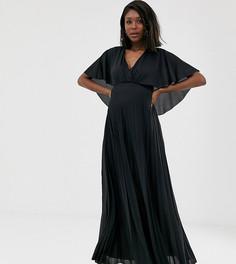 Плиссированное платье макси с кейпом ASOS DESIGN Maternity-Черный