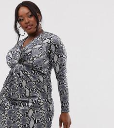 Бархатное платье со змеиным принтом Club L London Plus-Мульти