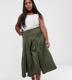 Плиссированная юбка цвета хаки River Island Plus-Зеленый