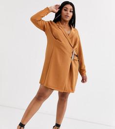 Платье-смокинг мини с пряжками ASOS DESIGN Curve-Коричневый
