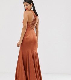Платье макси с асимметричной юбкой и отделкой макраме ASOS DESIGN Tall-Медный