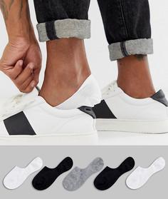 Набор из 5 пар невидимых носков в черно-белой гамме ASOS DESIGN, скидка-Мульти
