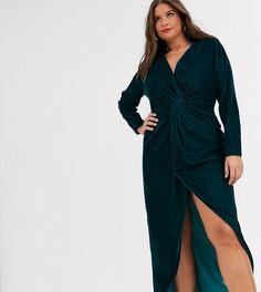 Бархатное платье макси с длинными рукавами и узлом ASOS DESIGN Curve-Зеленый