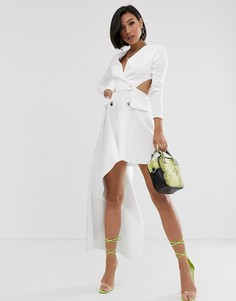 Платье-смокинг мини с драпировкой ASOS DESIGN-Белый