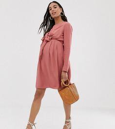 Платье мини с запахом и длинными рукавами для кормящих мам ASOS DESIGN Maternity-Розовый