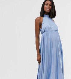 Платье миди со складками и халтером ASOS DESIGN Maternity-Синий