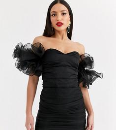 Черное платье мини со сборками на рукавах и открытыми плечами Club L London Tall-Черный
