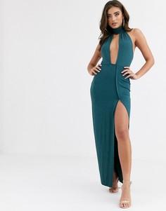 Зеленое вечернее платье макси с глубоким декольте ASOS DESIGN-Зеленый