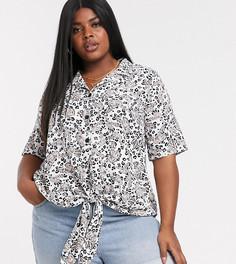 Рубашка с отложным воротником и принтом Lovedrobe-Мульти