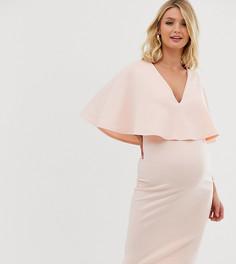 Облегающее двухслойное платье миди для кормящих мам ASOS DESIGN Maternity-Кремовый