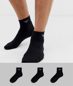 Набор из 3 пар черных спортивных носков Emporio Armani-Черный