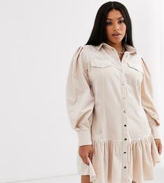 Вельветовое платье мини на кнопках ASOS DESIGN Curve-Кремовый