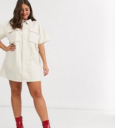 Светло-бежевое свободное джинсовое платье-рубашка ASOS DESIGN Curve-Белый