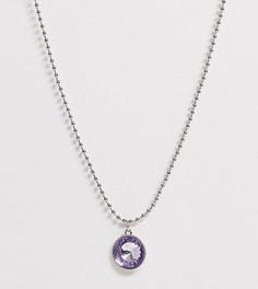 Серебристое ожерелье с шариковой цепочкой и подвеской-камнем ASOS DESIGN Curve-Серебряный