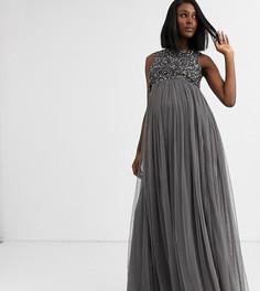 Темно-серое платье макси 2 в 1 с пайетками Maya Maternity - Bridesmaid-Серый