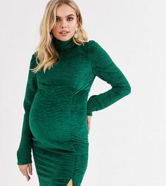 Бархатное облегающее платье зеленого цвета Fashion Union Maternity-Зеленый