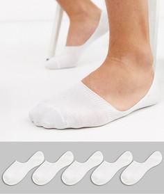 5 пар белых невидимых носков New Look-Белый