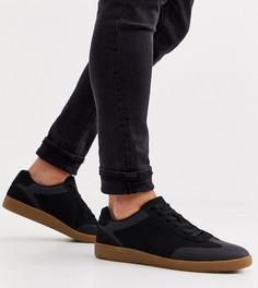 Черные кроссовки для широкой стопы из искусственной замши с каучуковой подошвой и шнуровкой ASOS DESIGN-Черный