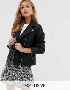 Свободная байкерская куртка из полиуретана New Look-Черный