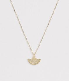 Блестящее золотистое ожерелье с подвеской в виде монеты ASOS DESIGN-Золотой