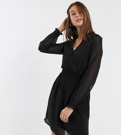 Черное шифоновое платье с присборенной талией Vero Moda Tall-Черный