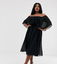 Двухслойное платье-бандо миди ASOS DESIGN Curve-Черный