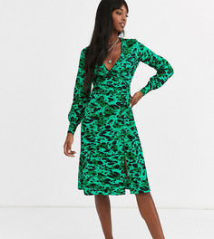 Зеленое платье миди с абстрактным леопардовым принтом и пуговицами Influence Tall-Зеленый