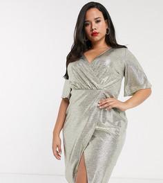 Золотистое блестящее платье миди с запахом и рукавами-кимоно Simply Be-Золотой