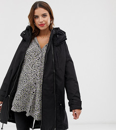 Дутая куртка 2 в 1 с отстегиваемой вставкой на молнии Mamalicious-Черный Mama.Licious