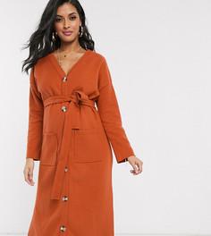 Оранжевое ультрамягкое платье миди с поясом и длинными рукавами ASOS DESIGN Maternity-Красный