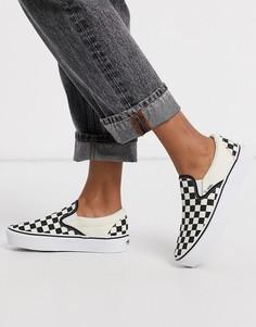 Белые кроссовки-слипоны на платформе с принтом в шахматную клетку Vans-Белый