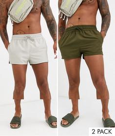 Суперкороткие шорты для плавания светло-бежевого цвета и хаки ASOS DESIGN - Набор из 2 пар со скидкой-Мульти