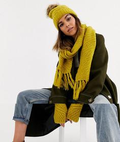 Коричневато-желтый вязаный подарочный набор из 3 предметов (шапка, шарф, перчатки) Boardmans