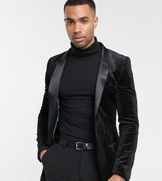 Черный супероблегающий пиджак-смокинг из плиссированного бархата ASOS DESIGN Tall