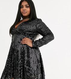 Короткое приталенное платье с запахом и пайетками Club L London Plus-Черный