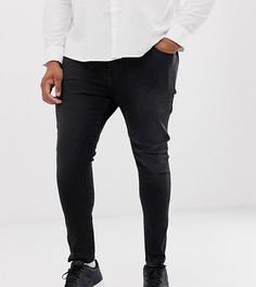 Выбеленные черные джинсы с напылением ASOS DESIGN Plus-Черный